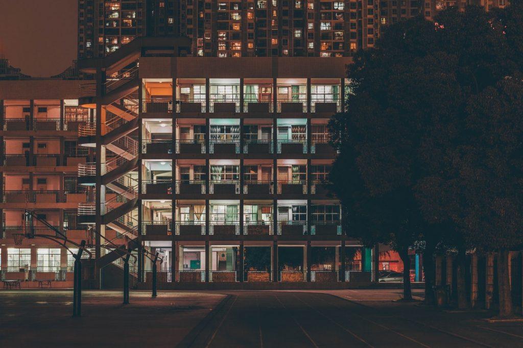 Apartment lights at night